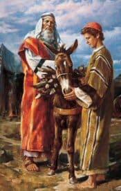 Abraham and Isaac prepare to travel to Moriah